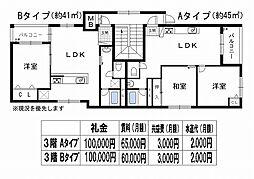 オリエントシティ上野芝[2B号室]の間取り