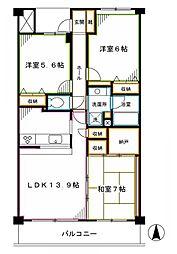 JR中央本線 中野駅 徒歩15分の賃貸マンション 5階3LDKの間取り