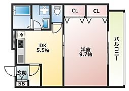 大阪府大阪市阿倍野区王子町2丁目の賃貸マンションの間取り
