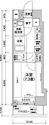 JR山手線 駒込駅 徒歩7分の賃貸マンション 3階1Kの間取り