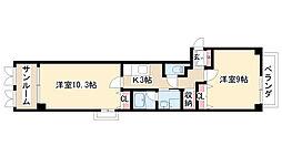 愛知県名古屋市天白区植田1の賃貸マンションの間取り