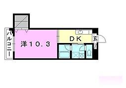 第8みのりハイツ福音寺 1階1DKの間取り