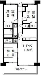 DPFT292 西石切町2 新石切7分[13階]の間取り