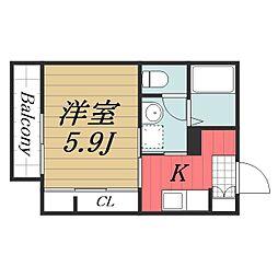 千葉県千葉市中央区松波1丁目の賃貸アパートの間取り