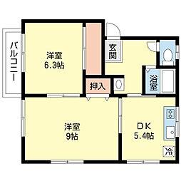 新潟県新潟市西区山田の賃貸アパートの間取り