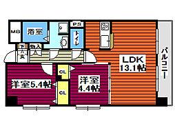 中ノ坂レジデンス 3階2LDKの間取り