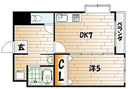 福岡県北九州市戸畑区中原東2の賃貸マンションの間取り