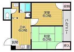 京阪本線 滝井駅 徒歩2分の賃貸マンション 3階2DKの間取り