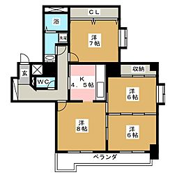 ベルソーレ支倉[2階]の間取り