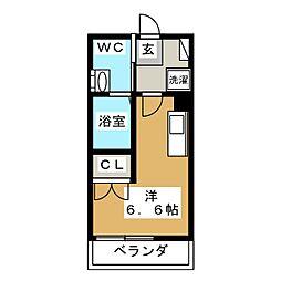 ハーミットクラブハウス日吉IV 2階ワンルームの間取り