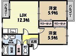 パークハイム鶴見 3階2LDKの間取り