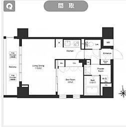都営大江戸線 新御徒町駅 徒歩11分の賃貸マンション 7階1LDKの間取り