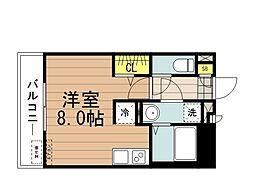JR埼京線 北与野駅 徒歩10分の賃貸アパート 2階ワンルームの間取り