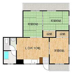 沖縄都市モノレール 小禄駅 徒歩10分の賃貸アパート 3階3LDKの間取り