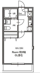 神奈川県川崎市多摩区西生田4丁目の賃貸アパートの間取り