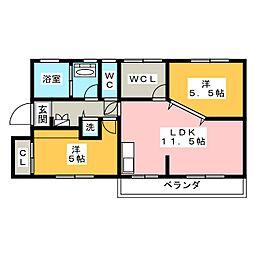パークサイドマンション東山[2階]の間取り