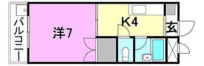 間取り,1K,面積24.57m2,賃料2.5万円,伊予鉄道郡中線 土居田駅 徒歩5分,JR予讃線 市坪駅 徒歩37分,愛媛県松山市土居田町