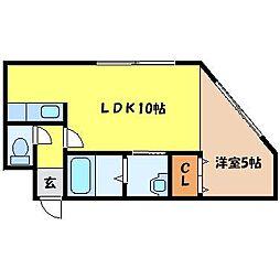 JR学園都市線 桑園駅 徒歩11分の賃貸アパート 2階1LDKの間取り