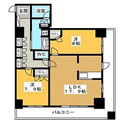 岐阜シティタワー43 スカイアークス[23階]の間取り