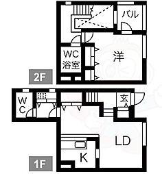 阪急宝塚本線 服部天神駅 徒歩4分の賃貸マンション 1階1LDKの間取り