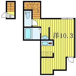 東京メトロ南北線 東大前駅 徒歩6分の賃貸アパート 2階ワンルームの間取り