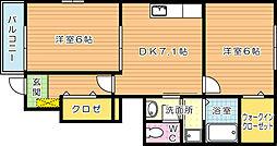 福岡県北九州市八幡西区上上津役1丁目の賃貸アパートの間取り
