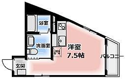 TOMOEマンション Bタイプ 3階ワンルームの間取り