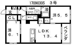 大阪府大阪市住吉区沢之町2丁目の賃貸マンションの間取り