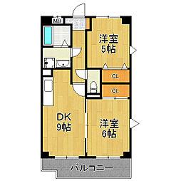 千葉県松戸市常盤平5丁目の賃貸マンションの間取り