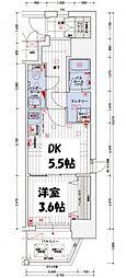エステムコート南堀江IIICHURA[13階]の間取り