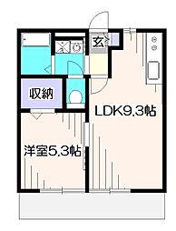 ハイツHATSU[1階]の間取り