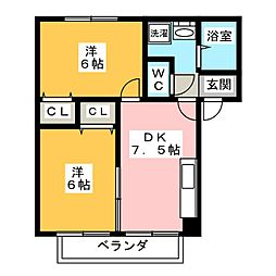 LOVE莉 B棟[2階]の間取り