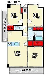 ニューガイア高野 3階3LDKの間取り