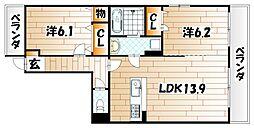 エコライフ中川[4階]の間取り
