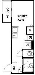 京急本線 立会川駅 徒歩7分の賃貸アパート 1階ワンルームの間取り