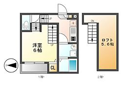 ディアコート鶴里[2階]の間取り