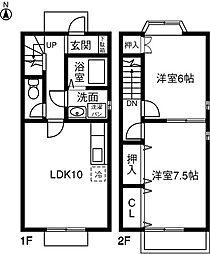 [テラスハウス] 愛知県一宮市昭和二丁目 の賃貸【/】の間取り