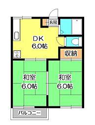 埼玉県新座市中野1丁目の賃貸アパートの間取り