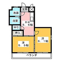 ティーズコート[3階]の間取り