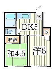 萩沢ハイツ B棟[1階]の間取り
