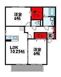 ラーフィア南里A棟[2階]の間取り
