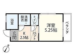 JR芸備線 矢賀駅 徒歩13分の賃貸アパート 2階1Kの間取り