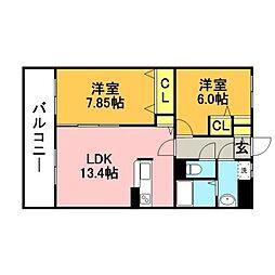 ピュア・ザ・東蓮寺[2階]の間取り