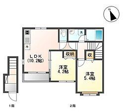JR青梅線 羽村駅 徒歩27分の賃貸アパート 2階2LDKの間取り