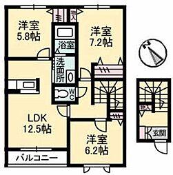徳島県板野郡北島町江尻字小分の賃貸アパートの間取り