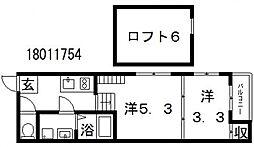 大阪府大阪市東住吉区田辺3丁目の賃貸マンションの間取り
