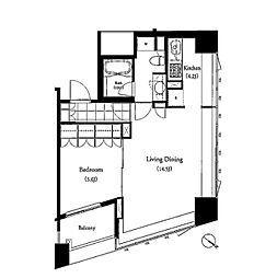 JR山手線 目黒駅 徒歩5分の賃貸マンション 10階1LDKの間取り