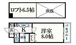 JR東海道・山陽本線 六甲道駅 徒歩5分の賃貸マンション 8階1Kの間取り