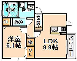 兵庫県伊丹市北河原2丁目の賃貸アパートの間取り
