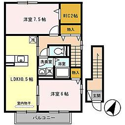 兵庫県たつの市新宮町新宮の賃貸アパートの間取り